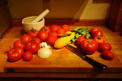 Harvest bounty - tomatoes, squash and green beans Stock Photos