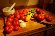 Stock Photo of harvest bounty - tomatoes, squash and green beans