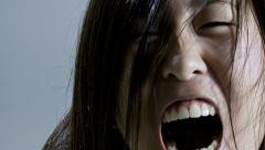 Horrible vampire zombie asian screaming horror movie Stock Footage