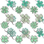elegant seamless pattern with lucky four leaf clovers, design element - stock illustration