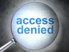 Security concept: Access Denied with optical glass Stock Illustration