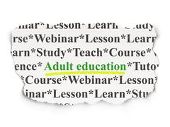 Education concept: Adult Education on Paper background - stock illustration
