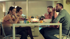 Unhappy, bored friends sitting by the table on bad double date HD Stock Footage