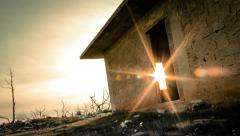 4K abandoned empty house exterior in city outskirts urban grunge timelapse - stock footage