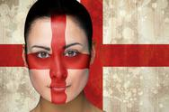Stock Illustration of Composite image of beautiful england football fan in face paint