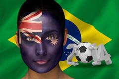 Composite image of australia football fan in face paint Stock Illustration