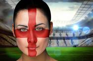 Stock Illustration of Composite image of beautiful england fan in face paint