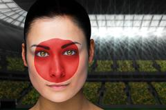 Composite image of beautiful japan fan in face paint Stock Illustration