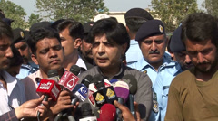 Chaudhry Nisar Addressing Press in the Aftermath of Deadly Fruit market Blast Stock Footage