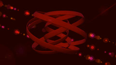 Red vortex type structure spinning on a red lens flare background, cgi effect Stock Footage