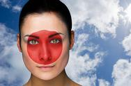 Stock Illustration of Composite image of beautiful brunette in japan facepaint