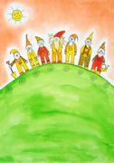 Seven dwarfs, child's drawing, watercolor painting on paper Stock Illustration