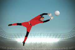 Stock Illustration of Composite image of fit goal keeper jumping up