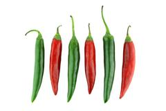 Green and red chili - stock photo