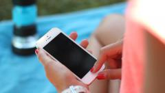 IPhone outdoor - closeup Stock Footage