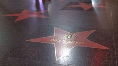 Timelapse feet people pass walk of fame Hollywood Los Angeles night light USA US Stock Footage