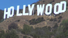 Detail closeup Hollywood sign mountain hill historic letter day touristic iconic Stock Footage