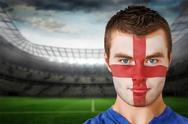 Stock Illustration of Composite image of serious young england fan with face paint