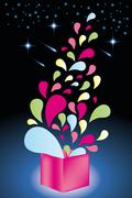 Colorful shapes come out from open gift box - stock illustration Stock Illustration