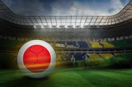 Stock Illustration of Composite image of football in japan colours