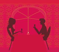 Young couple silhouette flirt and drink champagne in restaurant Stock Illustration