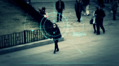 Surveillance monitor of woman - stock footage