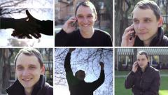 Collage of young man talking over the cellphone - bright emotions Stock Footage