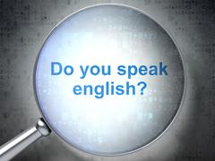 Stock Illustration of Education concept: Do you speak English? with optical glass