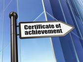 Stock Illustration of Education concept: Certificate of Achievement on Building backgr