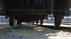 Dolly under old train - stock footage