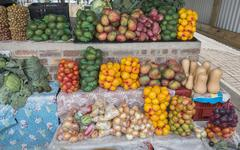 market stall with fresh fruit in african city hazeview - stock photo
