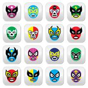 Lucha Libre, Luchador Mexican wrestling masks icons Stock Illustration