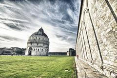 Upeat näkymät Piazza dei Miracoli, Ihmeet aukiolla Pisa. Kuvituskuvat