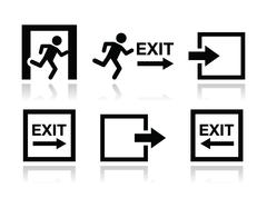 Emergency exit icons vector set - stock illustration