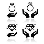 Stock Illustration of Diamond engagement ring with hands vector icon
