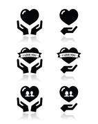 Hands with heart, love, relationship icons set Stock Illustration