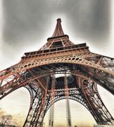 Paris, France. Winter sunset on Eiffel Tower. La Tour Eiffel Stock Photos