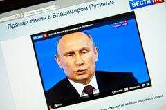 Russian president vladimir putin's annual televised call-in with the nation Stock Photos