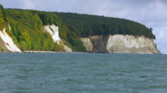 Ride On The Water: View On Green Coast And Famouse White Chalk Cliffs Stock Footage