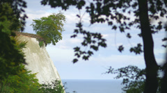White Cliff At Coast Of Rügen Island Through Branches Of A Tree Stock Footage