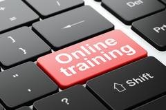 Education concept: Online Training on computer keyboard background Stock Illustration