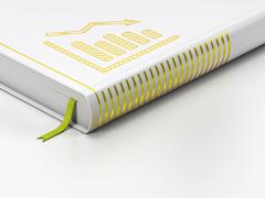 Stock Illustration of News concept: closed book, Decline Graph on white background