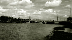 Albert Bridge, London, Black and White. Editorial Only Stock Footage
