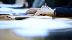 Men's Hands On The Table. Business Discussion Stock Footage