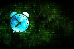 Stock Illustration of Timeline concept: Alarm Clock on digital background