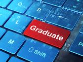 Stock Illustration of Education concept: Graduate on computer keyboard background