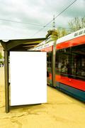 tram station - stock photo