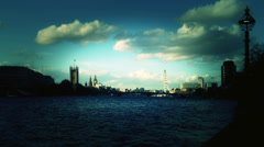 Houses of Parliament at dusk, London. Stock Footage
