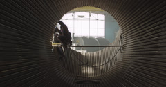 4K Tunnel of steel pipes Stock Footage