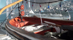 1348  A lifeboat on the boat - stock footage